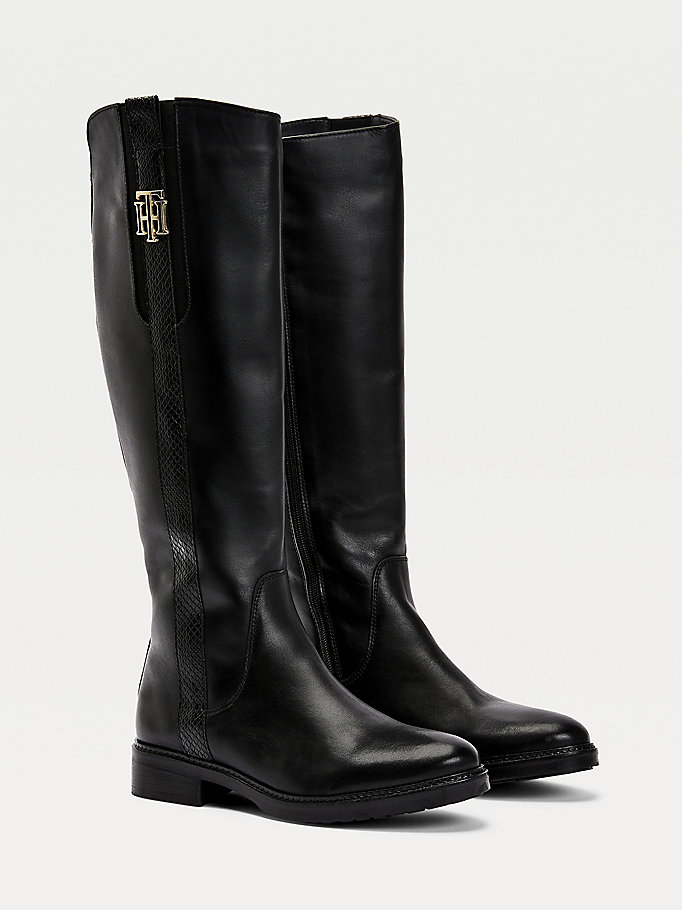 black monogram metal logo long boots for women tommy hilfiger