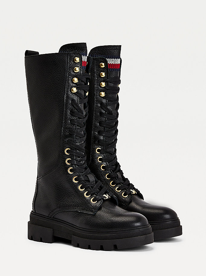 black classics lace up leather long boots for women tommy hilfiger