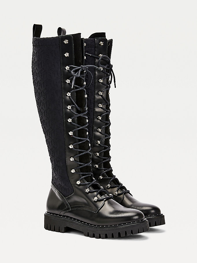black monogram long boots for women tommy hilfiger