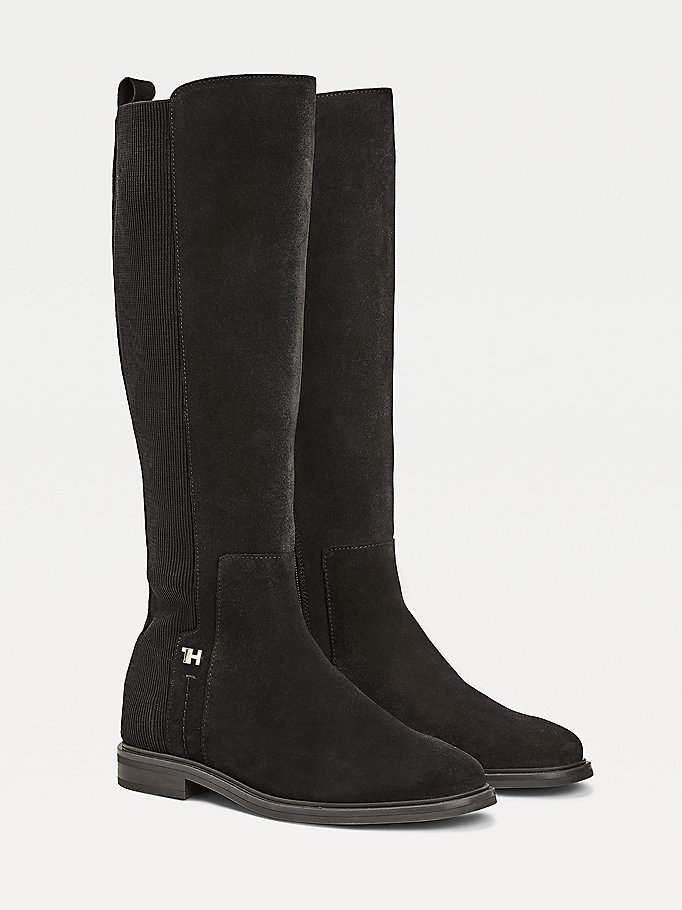 black essential suede flat long boots for women tommy hilfiger