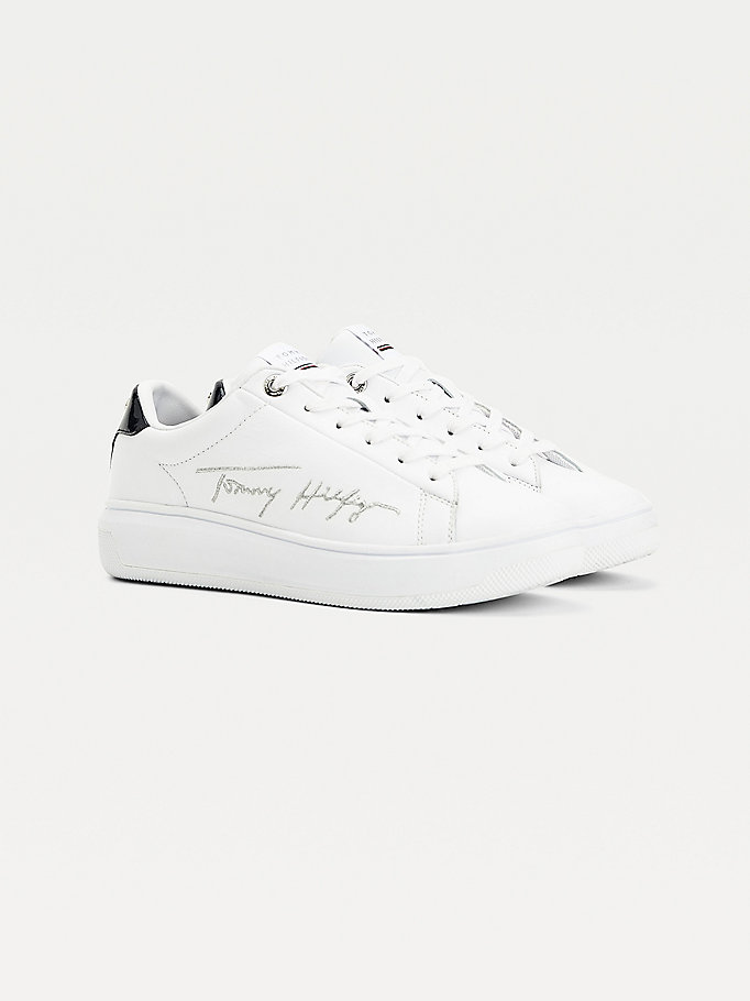 white signature metallic contrast heel trainers for women tommy hilfiger