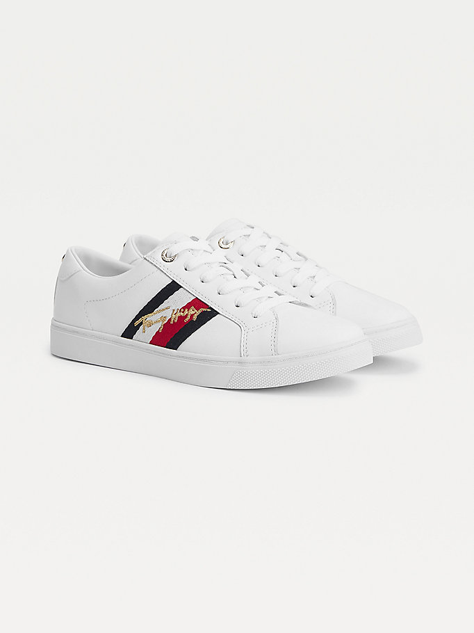 white metallic signature cupsole trainers for women tommy hilfiger