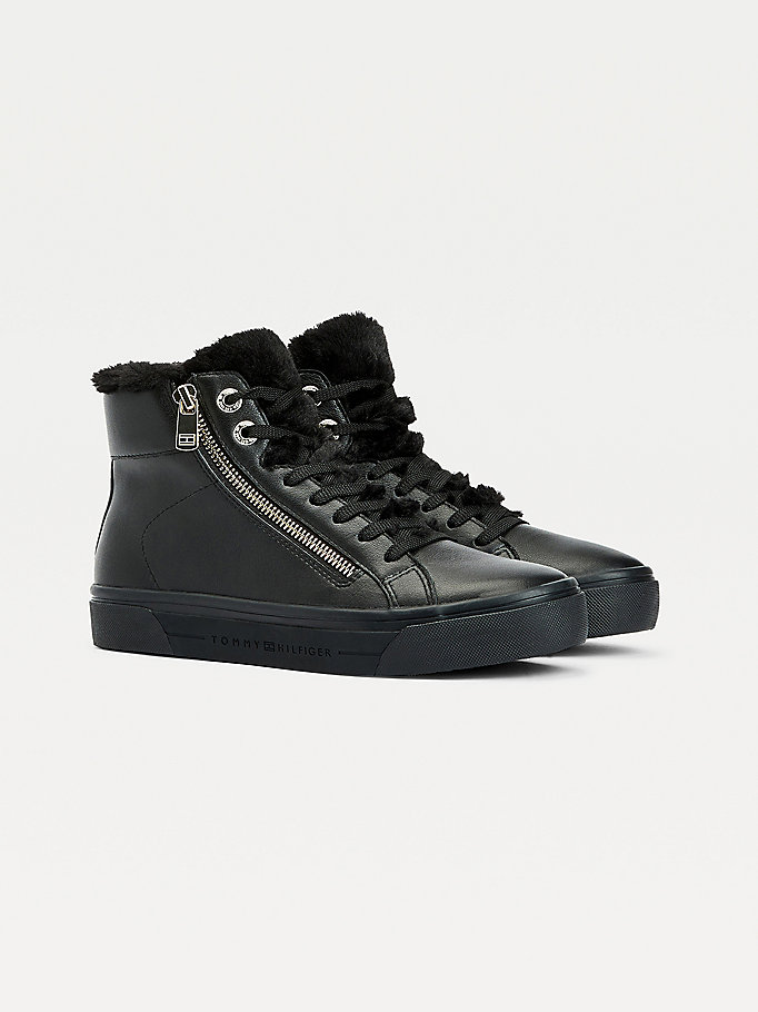 black warm lined high-top trainers for women tommy hilfiger