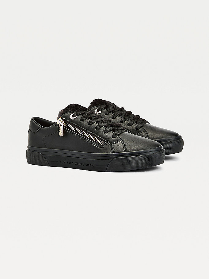black casual leather mix warm lined trainers for women tommy hilfiger