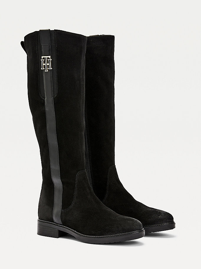 black monogram logo suede long boots for women tommy hilfiger