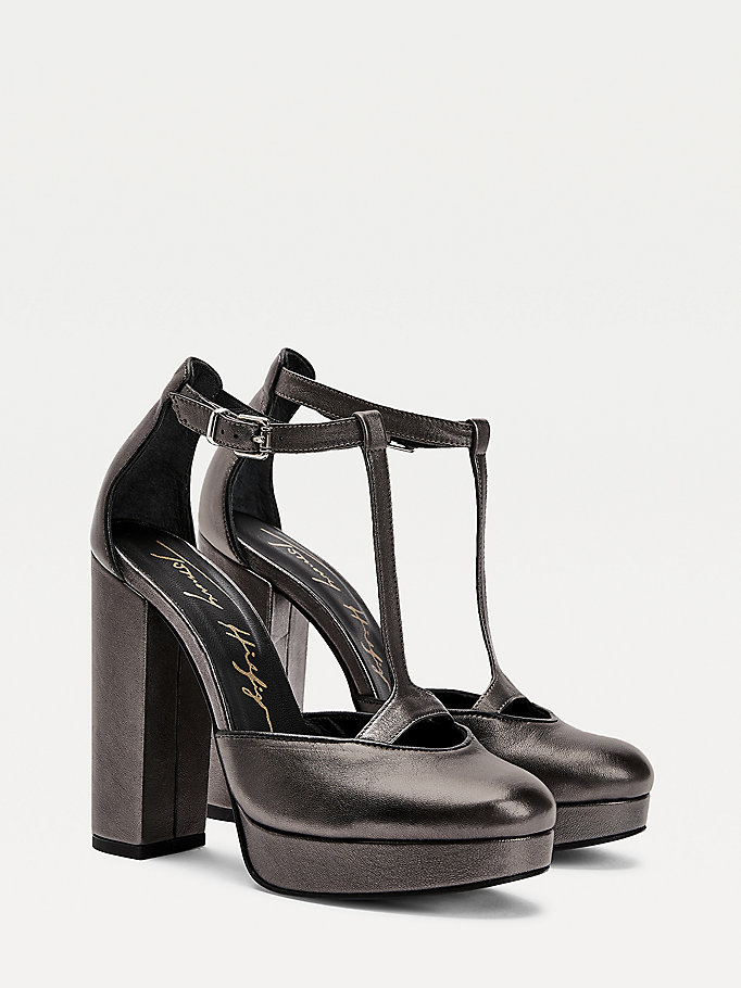 grey metallic block heel pumps for women tommy hilfiger