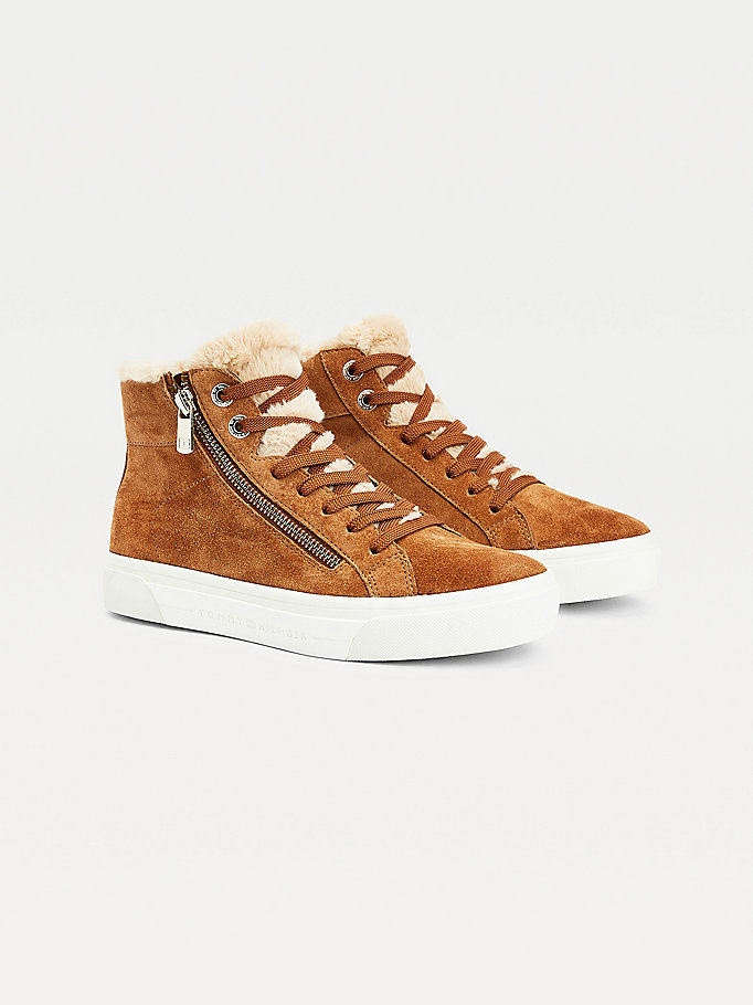 brown warm lined high top trainers for women tommy hilfiger