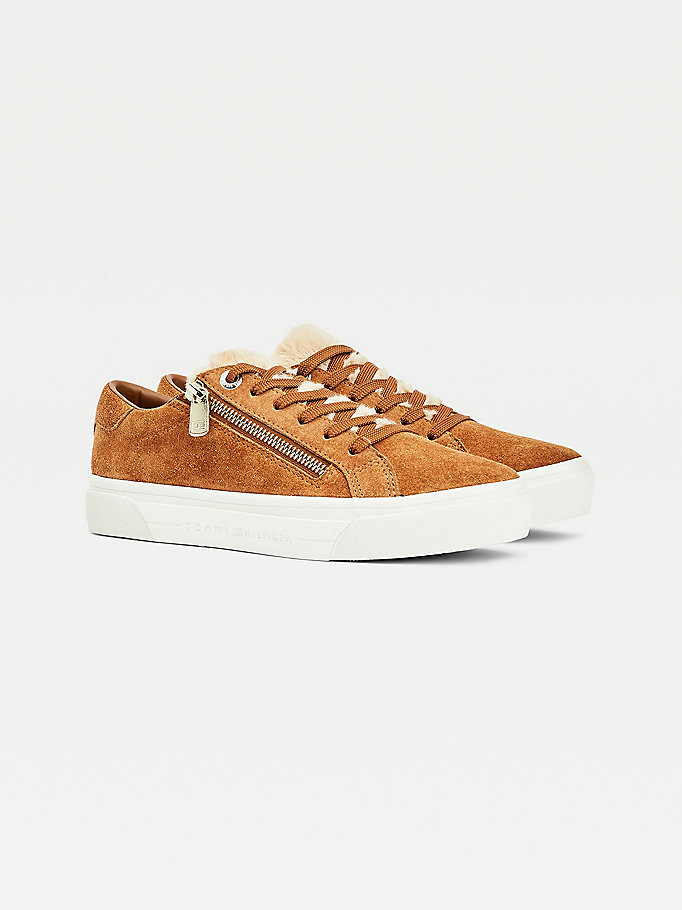 brown warm lined zip trainers for women tommy hilfiger