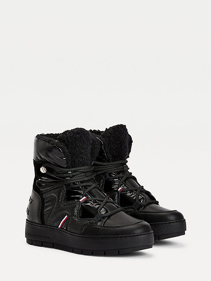 black metallic finish snow boots for women tommy hilfiger