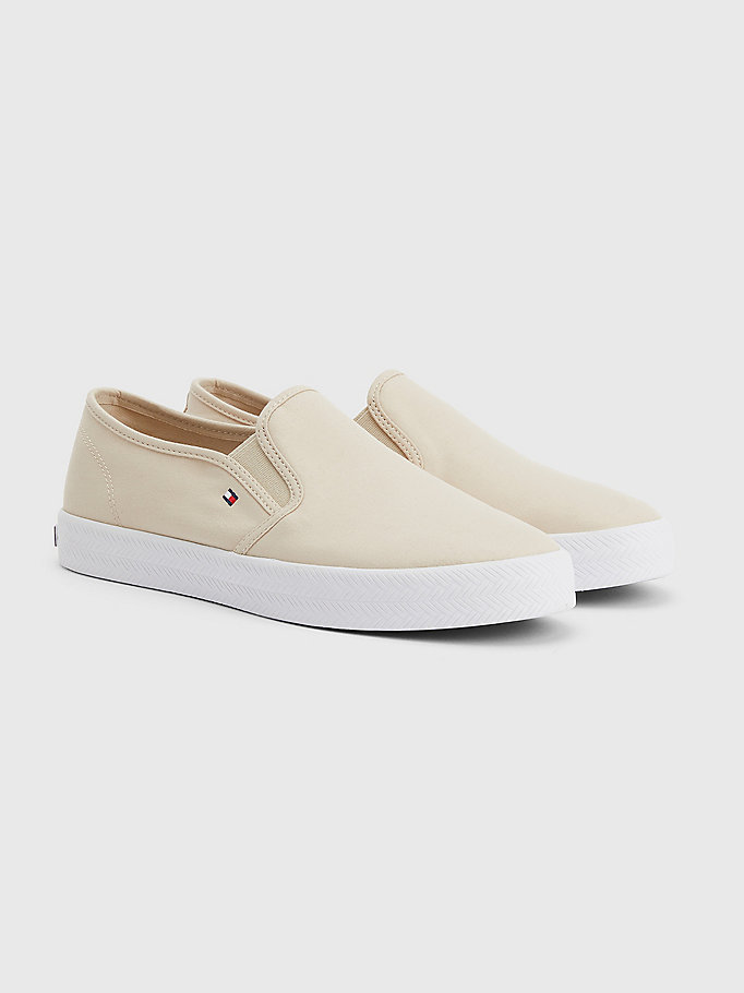 beige essential nautical slip-on trainers for women tommy hilfiger