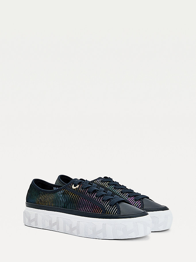 blue glitter transparent trainers for women tommy hilfiger
