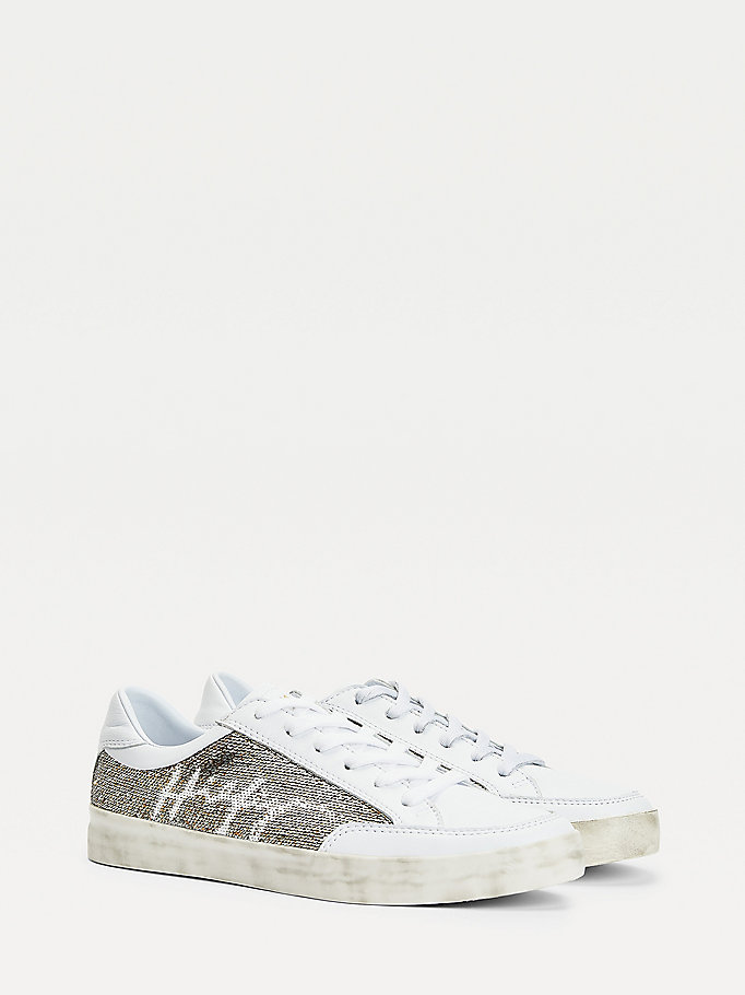white sequin signature logo leather trainers for women tommy hilfiger