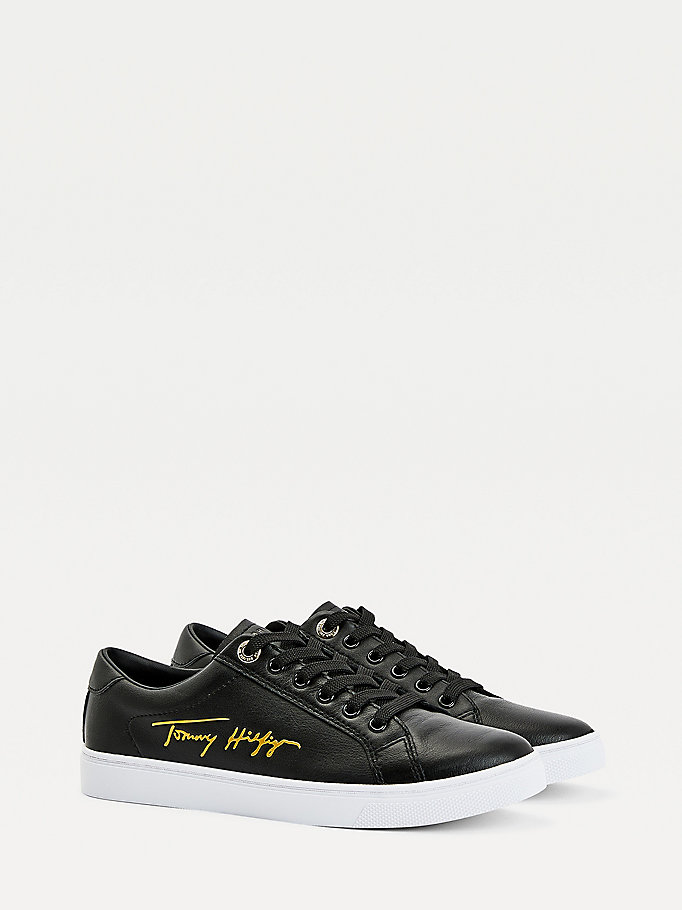 black signature cupsole trainers for women tommy hilfiger