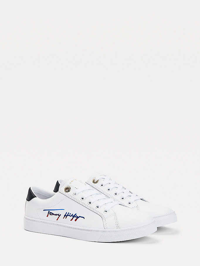 white signature cupsole trainers for women tommy hilfiger