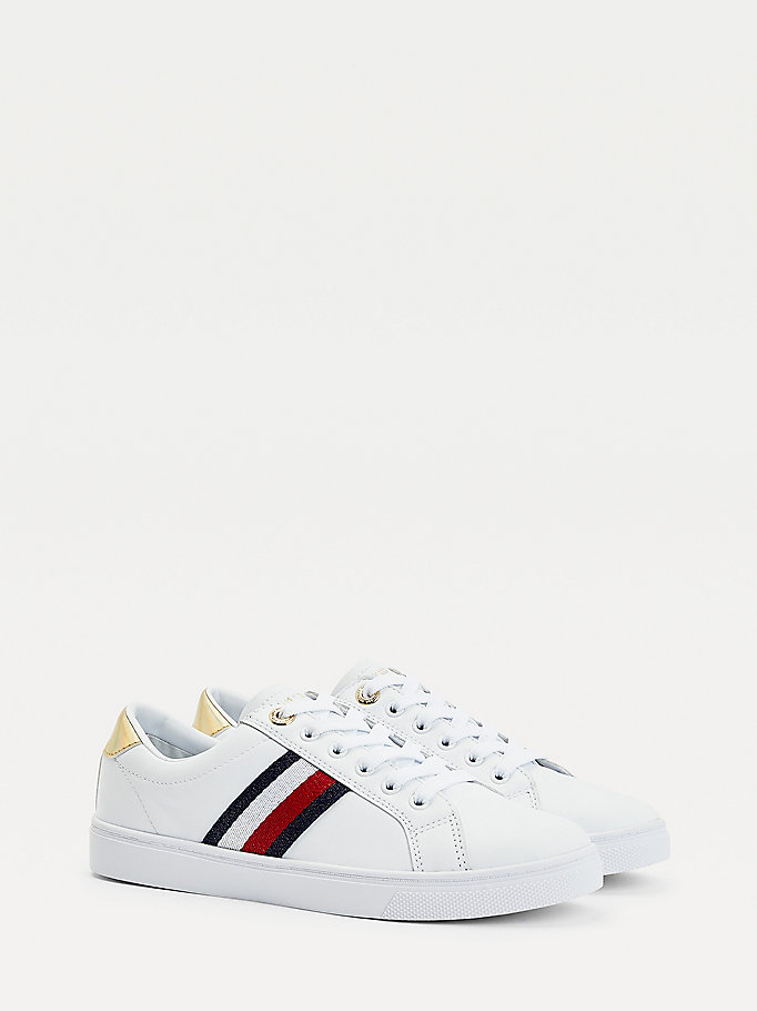 white signature tape cupsole trainers for women tommy hilfiger