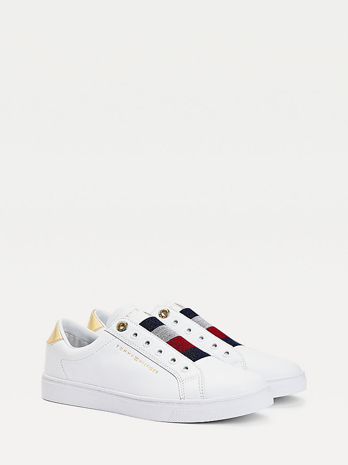 white signature slip-on trainers for women tommy hilfiger