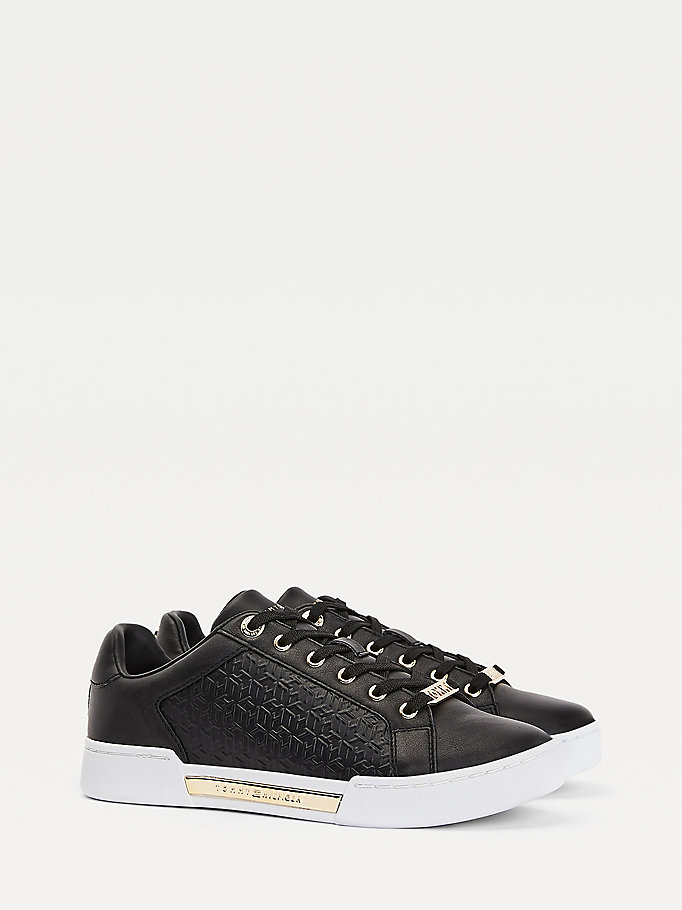 black th monogram trainers for women tommy hilfiger