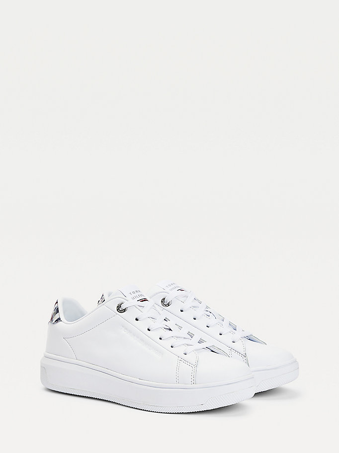 white th monogram leather cupsole trainers for women tommy hilfiger