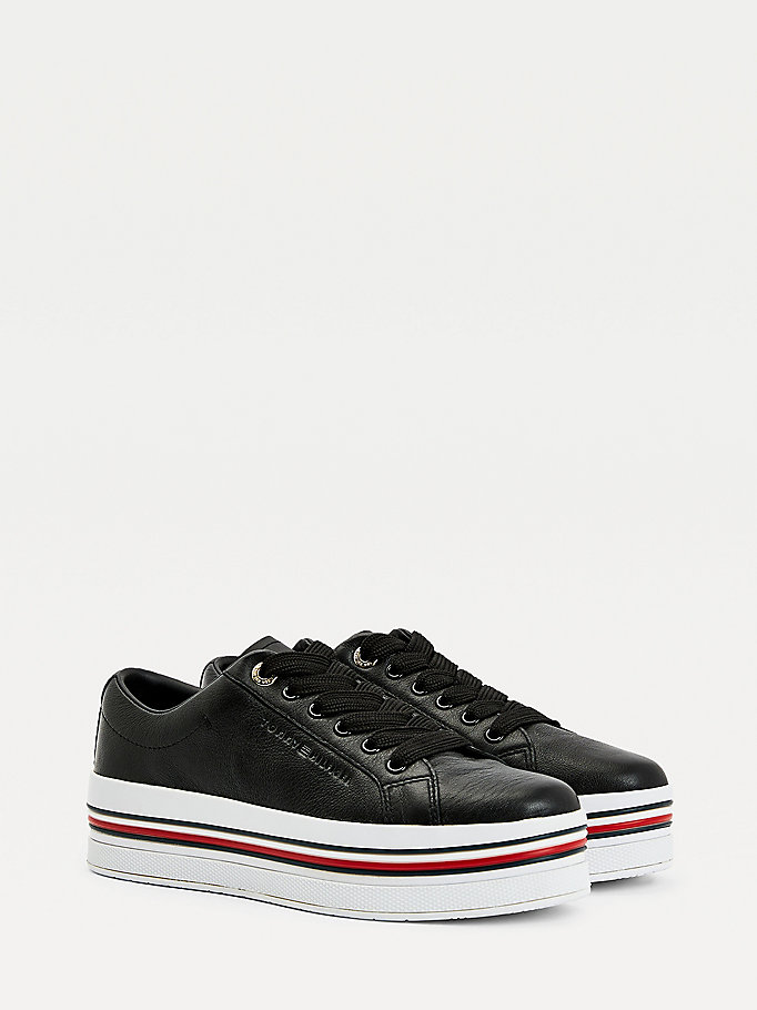 black signature leather flatform trainers for women tommy hilfiger