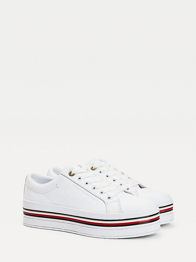 white signature leather flatform trainers for women tommy hilfiger