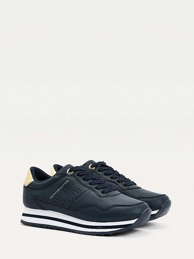 blue metallic leather trainers for women tommy hilfiger