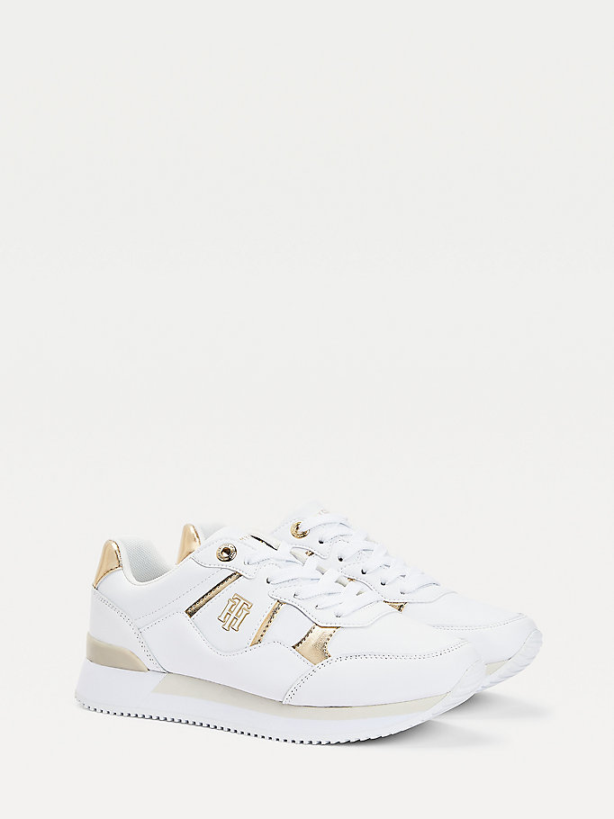 white monogram logo leather trainers for women tommy hilfiger