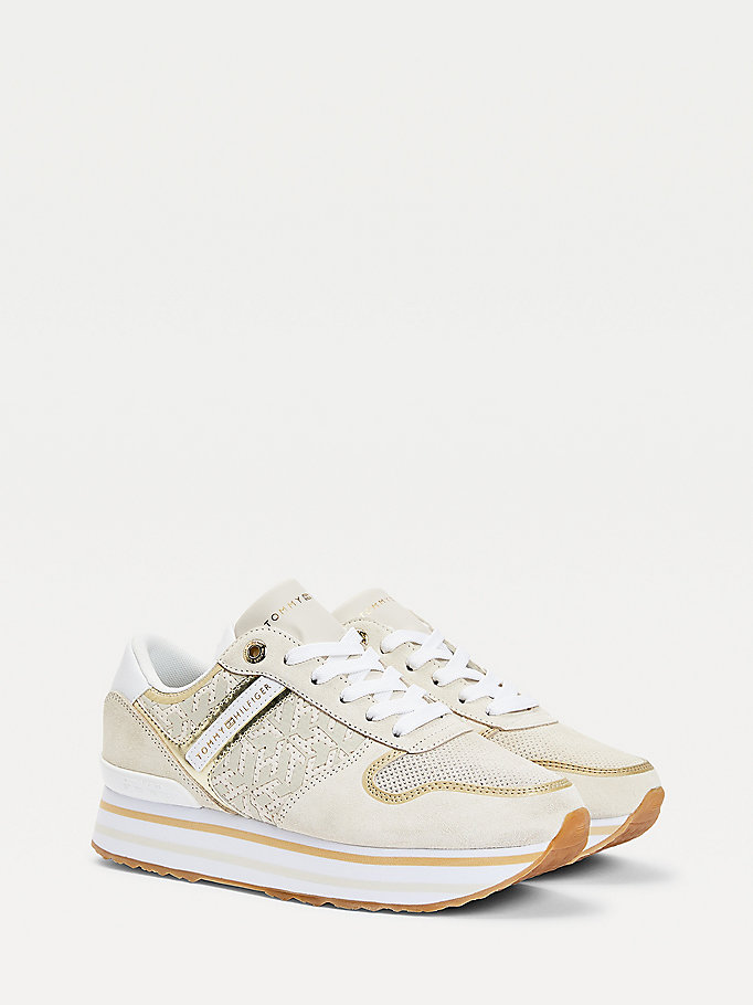 beige logo metallic flatform trainers for women tommy hilfiger