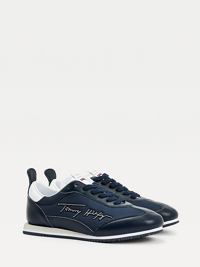 blue signature retro leather trainers for women tommy hilfiger