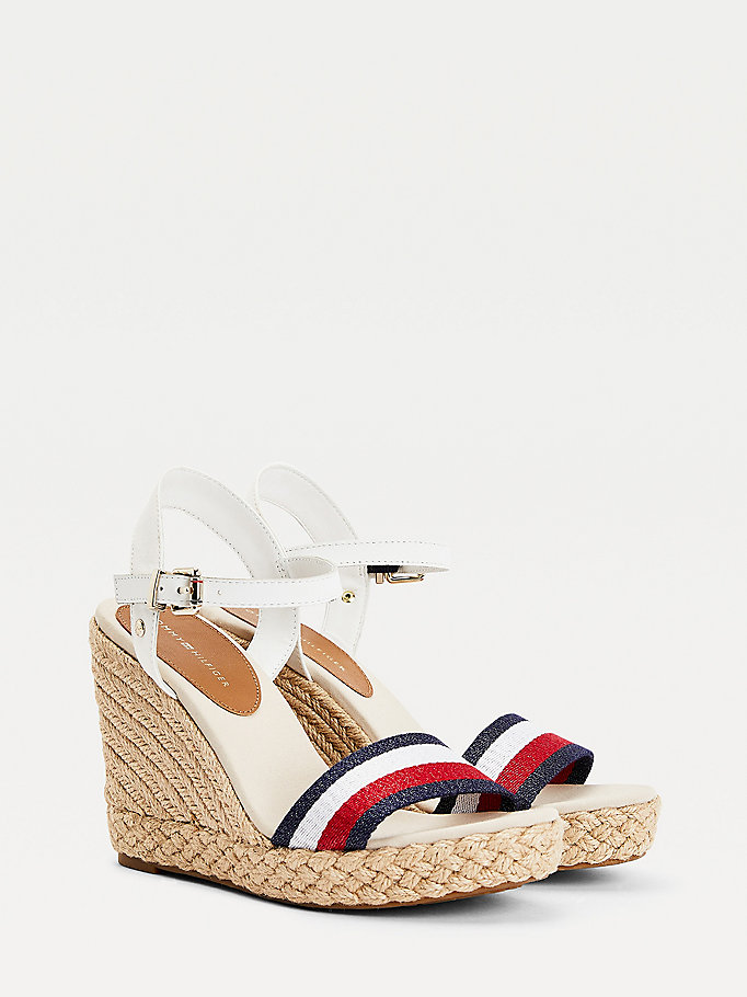 white shimmer stripe wedge sandals for women tommy hilfiger