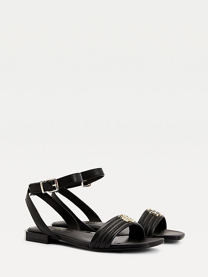 black padded leather sandals for women tommy hilfiger
