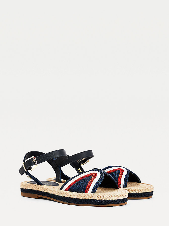 blue woven flat espadrille sandals for women tommy hilfiger