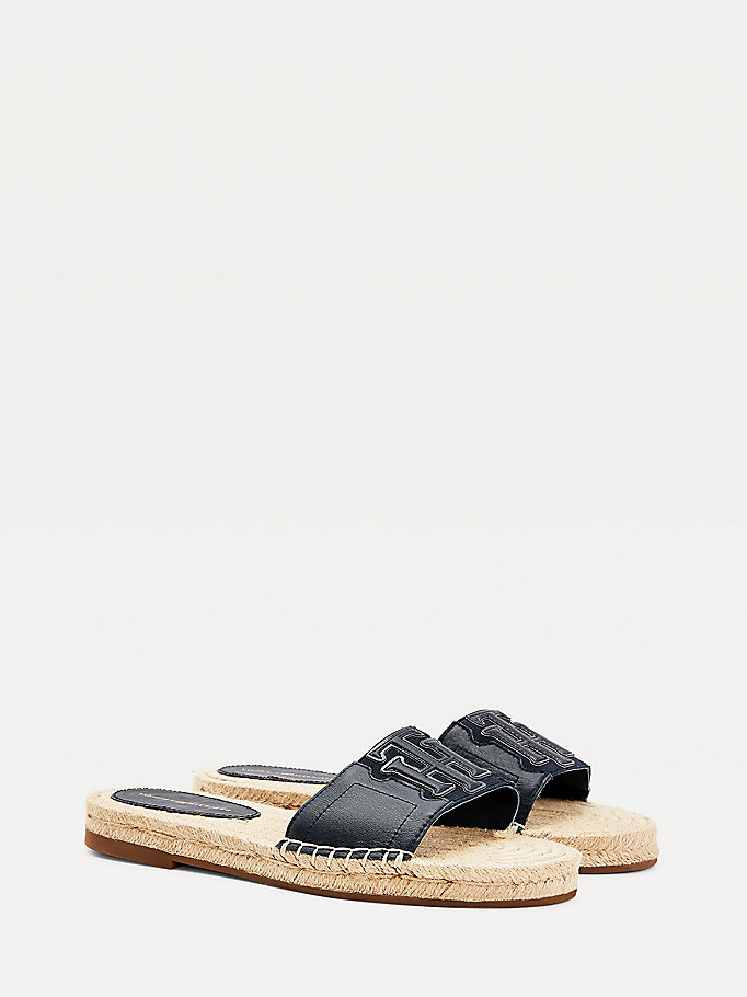 blue monogram espadrille mules for women tommy hilfiger