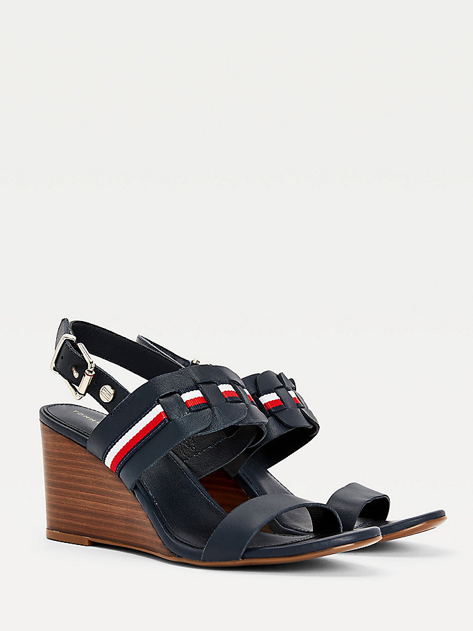 blue woven stripe wedge sandals for women tommy hilfiger