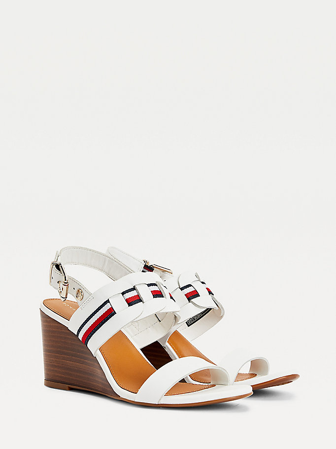 white woven stripe wedge sandals for women tommy hilfiger