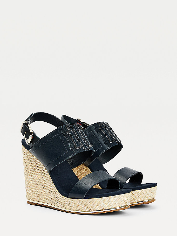 blue high wedge espadrille sandals for women tommy hilfiger