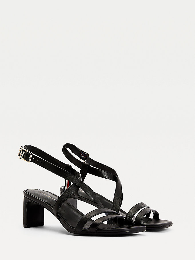 black square toe leather sandals for women tommy hilfiger
