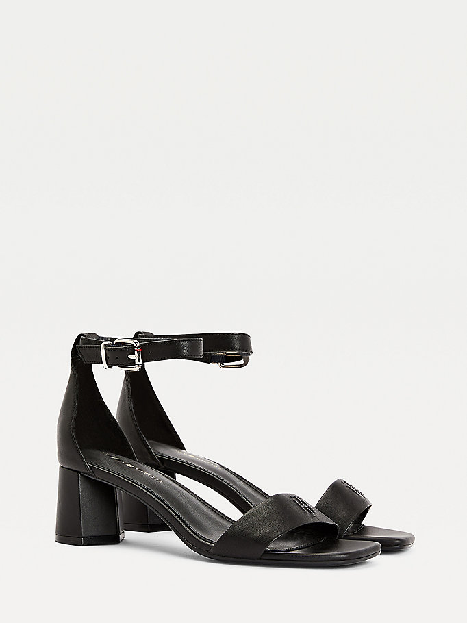 black essential mid heel sandals for women tommy hilfiger