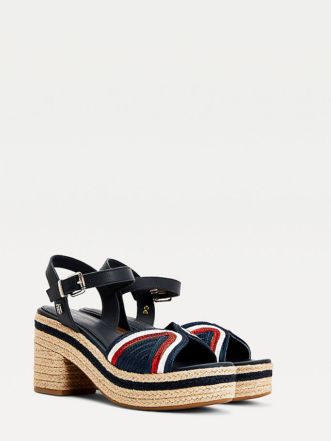 blue mid heel leather espadrille sandals for women tommy hilfiger