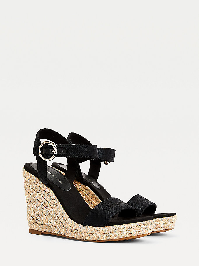 black signature high wedge sandals for women tommy hilfiger