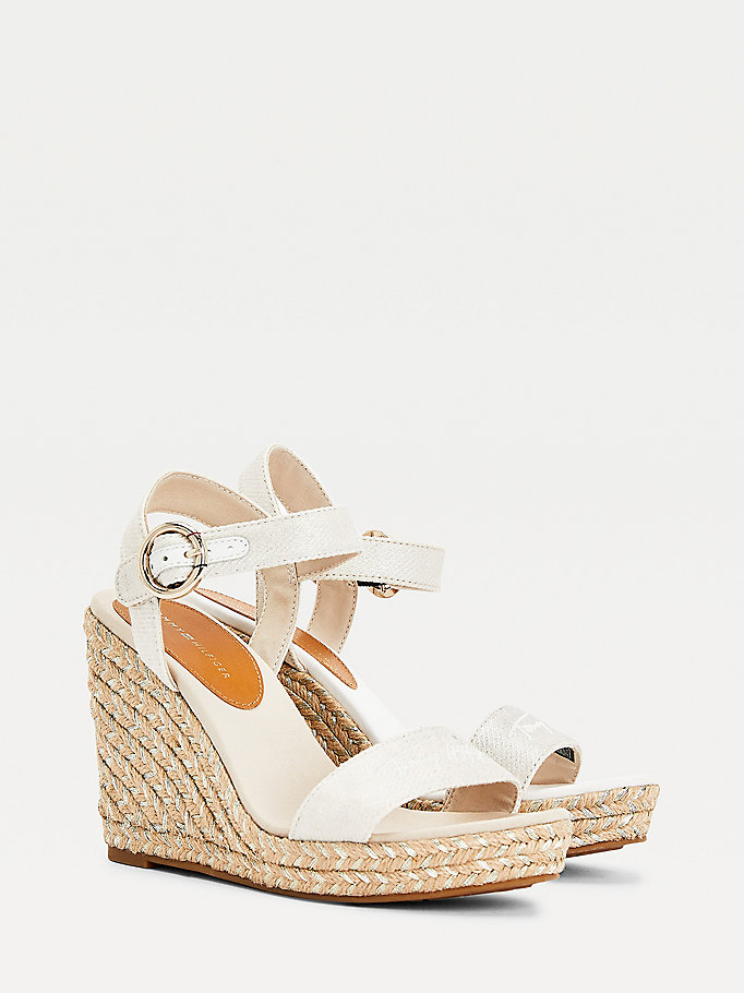 white signature high wedge sandals for women tommy hilfiger