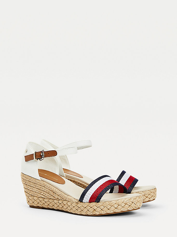 white ribbon mid wedge sandals for women tommy hilfiger