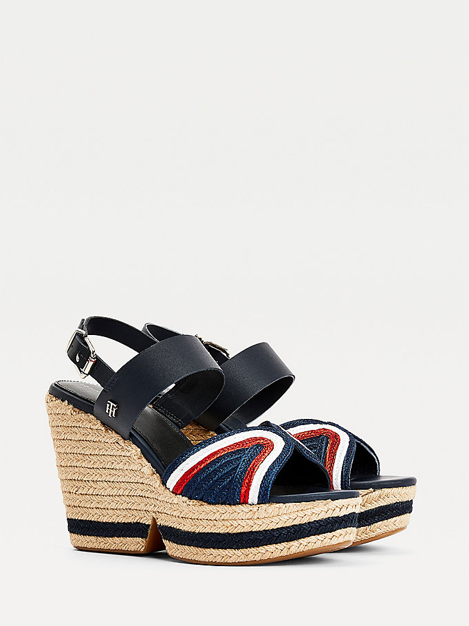 blue rope high wedge sandals for women tommy hilfiger