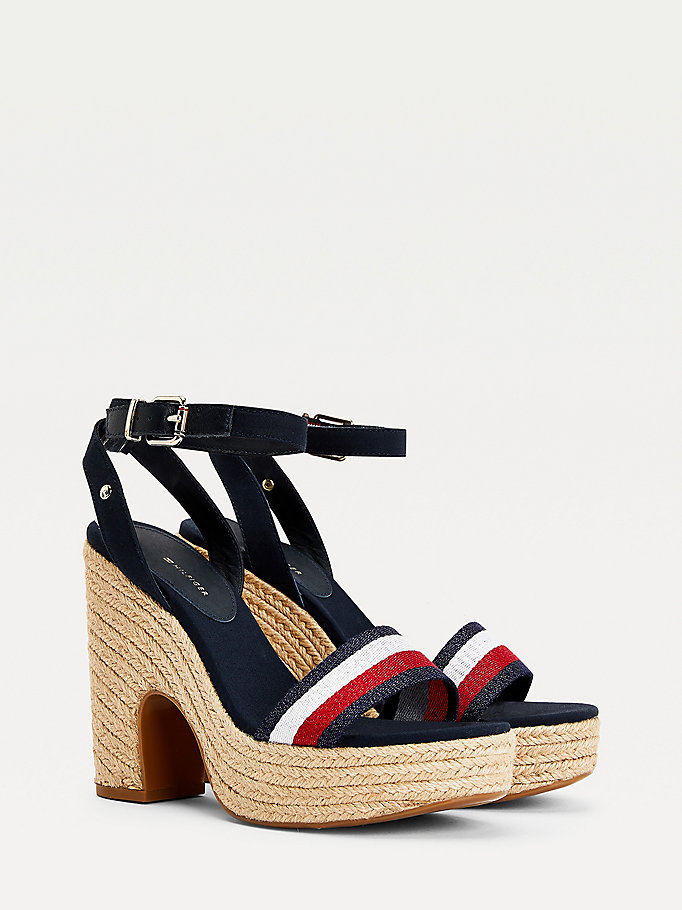 blue high heel espadrille sandals for women tommy hilfiger