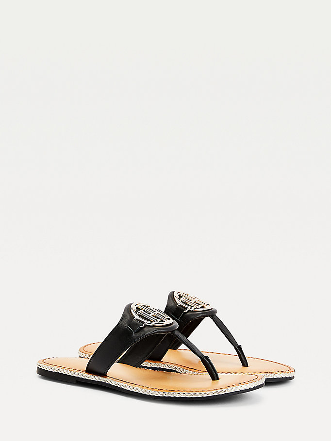 black essential monogram leather sandals for women tommy hilfiger