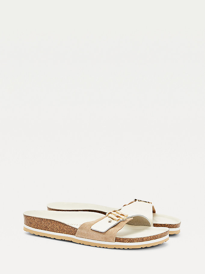 beige suede monogram sandals for women tommy hilfiger