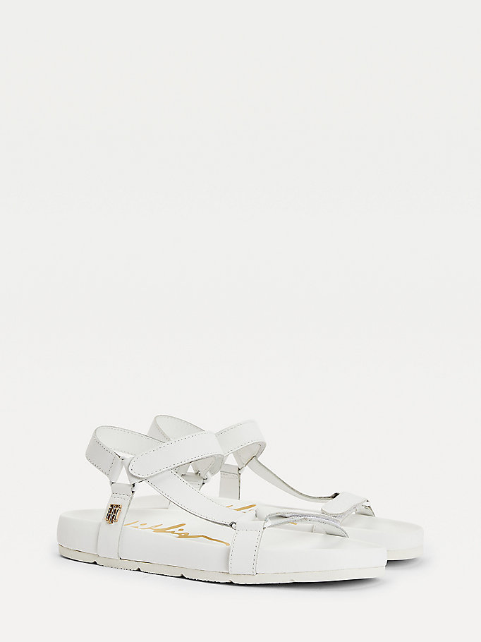 white square toe flat sandals for women tommy hilfiger