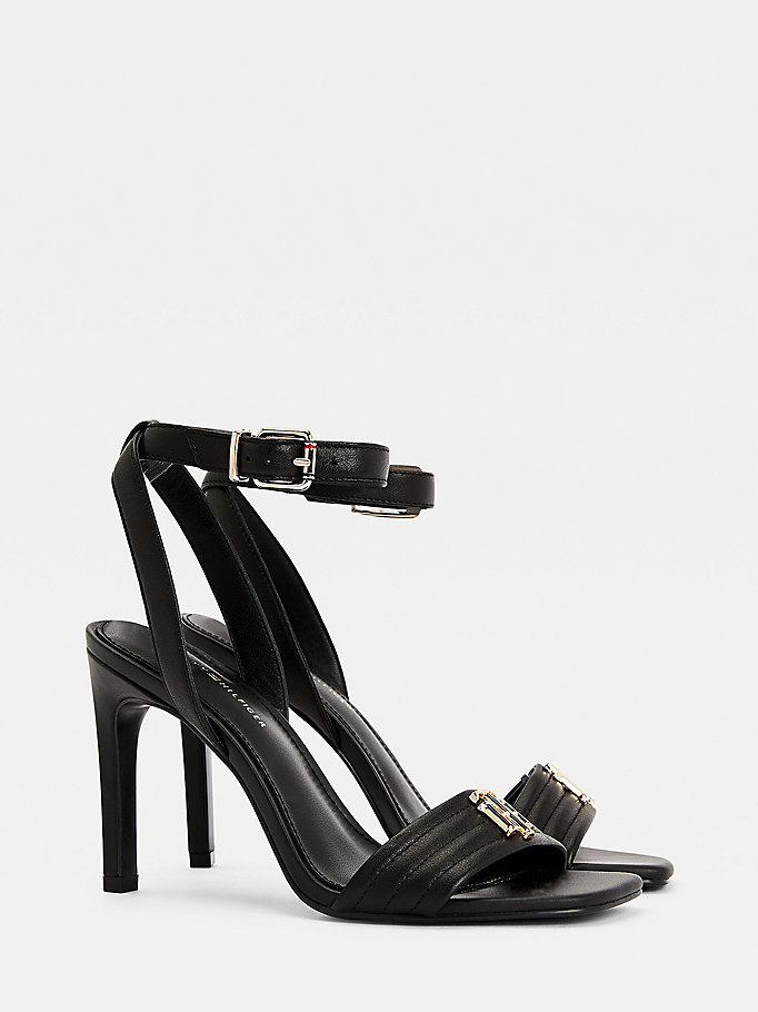 black leather high heel sandals for women tommy hilfiger