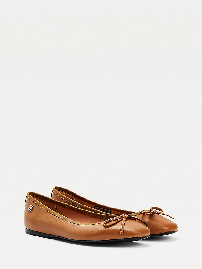 brown essential ballerina shoes for women tommy hilfiger