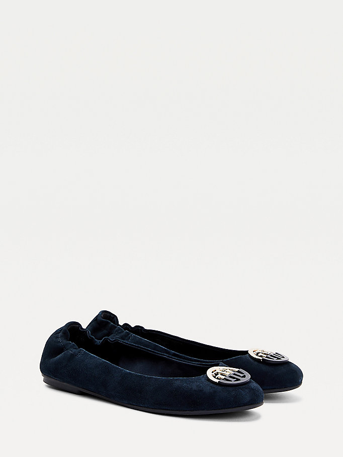 blue essential suede ballerina shoes for women tommy hilfiger
