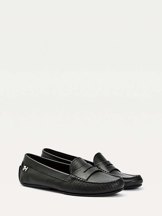 black essential leather moccasin shoes for women tommy hilfiger